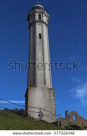 Lighthouse at Alcatraz - stock photo