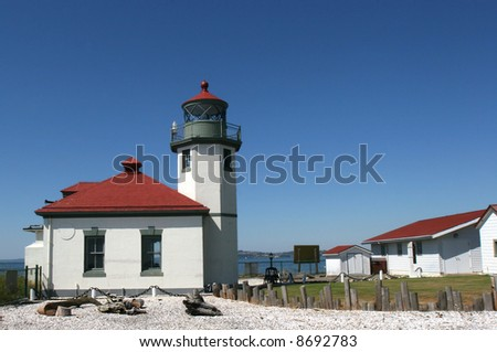 Lighthouse at Alki beach, Seattle - stock photo