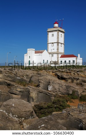 Lighthouse at Cape Carvoeiro, Nau dos Corvos. Peniche, Portugal.