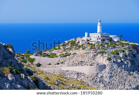 Lighthouse at Cape Formentor in the Coast of North Mallorca, Spain ( Balearic Islands ) - stock photo