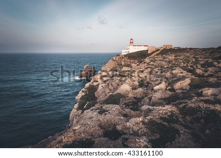 Lighthouse at Cape St. Vincent. Sagres, Algarve, Portugal. - stock photo