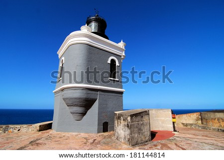 Lighthouse at the Castillo San Felipe del Morro in San Juan, PR / Last Light - stock photo