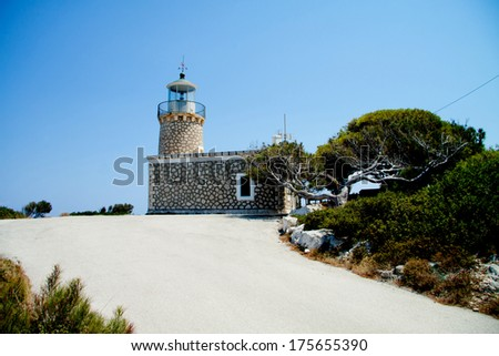 lighthouse at Zakynthos island, Greece  - stock photo