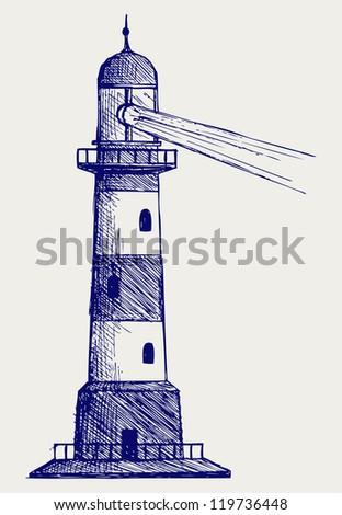 Lighthouse. Doodle style. Raster version - stock photo