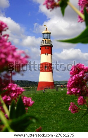 lighthouse during a spring time, Plymouth, UK - stock photo