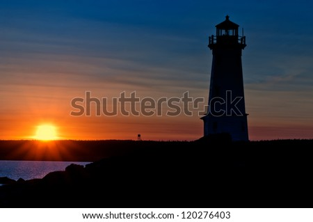 Lighthouse during sunrise in the early morning with beautiful colors