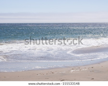 Lighthouse Field State Beach is a protected beach in the state park system of California, United States.The beach overlooks the Steamer Lane surfing hotspot. - stock photo