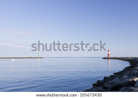 Lighthouse from Warnem�¼nde - stock photo