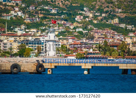 Lighthouse in Alanya, Turkey - stock photo