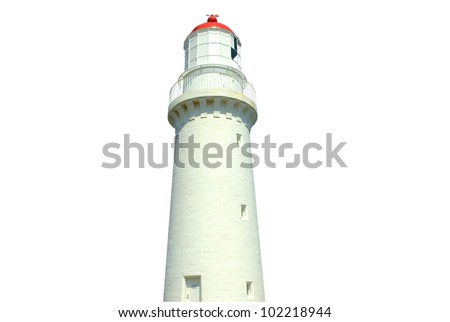 Lighthouse in australia isolated on a white background using clipping path - stock photo