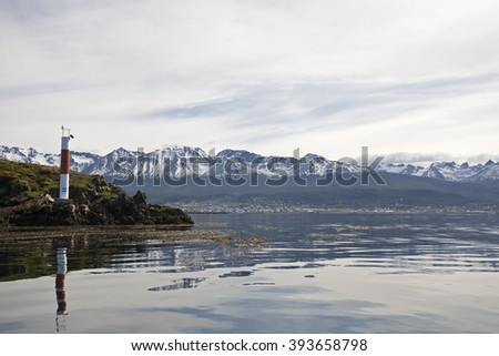 Lighthouse in Beagle-Channel, Tierra del Fuego, Argentina - stock photo
