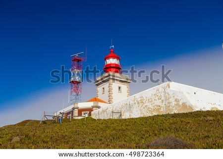 Lighthouse in Cabo da Roca, Portugal during a clear sunny day