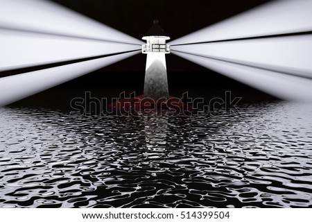 Lighthouse in darkness, landscape view, 3d rendering