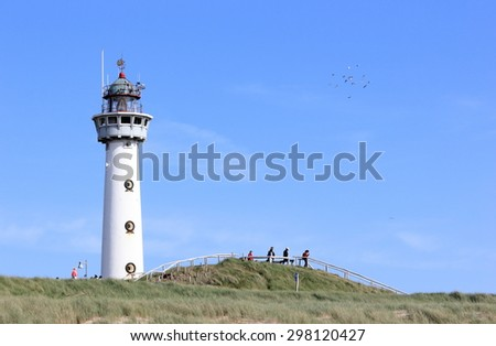 Lighthouse in Egmond aan Zee. North Sea, the Netherlands.