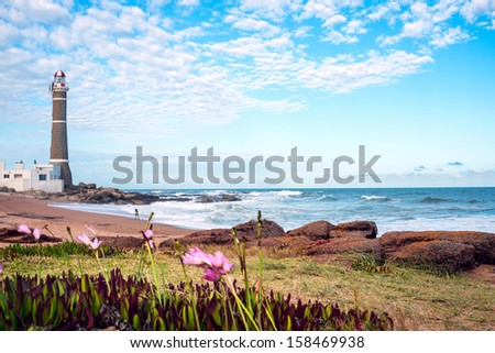 Lighthouse in Jose Ignacio near Punta del Este, Atlantic Coast, Uruguay - stock photo