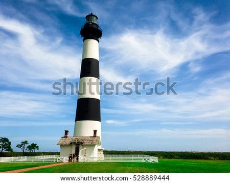 Lighthouse in North Carolina with Beautiful Sky