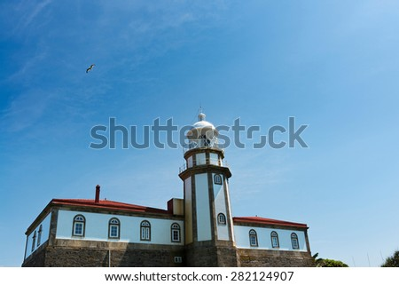 Lighthouse in Ons Island in the Ria de Pontevedra in Galicia, Spain, one of the Special Protection Areas for bird-life in Galicia.