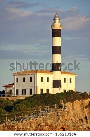 Lighthouse in Porto Colom (MAjorca - Spain) - stock photo