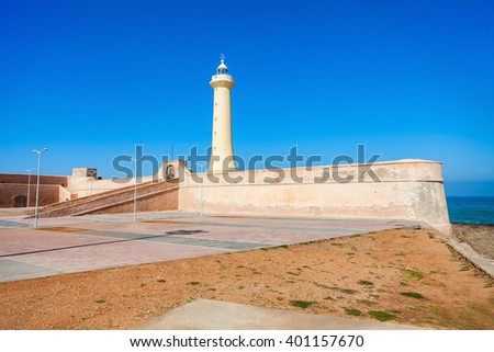 Lighthouse in Rabat (Phare de Rabat) in Morocco. Lighthouse is located near the Kasbah of the Udayas at the mouth of the Bou Regreg river in Rabat, Morocco.