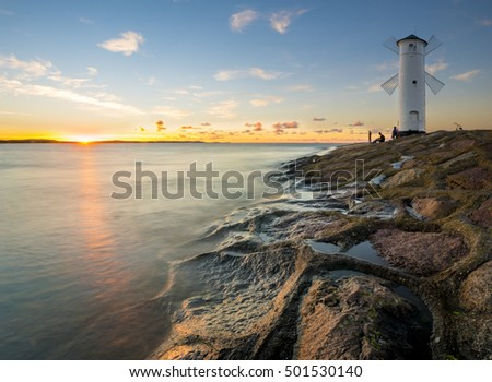 lighthouse in Swinoujscie, baltic sea, Poland