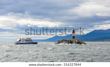 Lighthouse in the Beagle Channel, Ushuaia, Argentina - stock photo