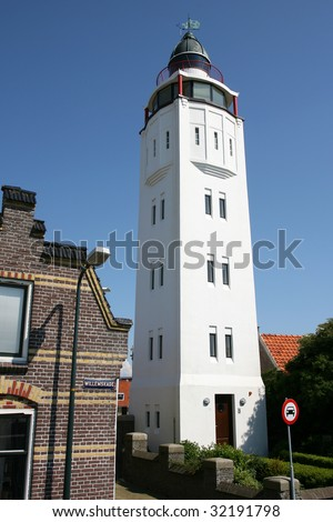 Lighthouse in the outskirts of Harlingen(Holland)