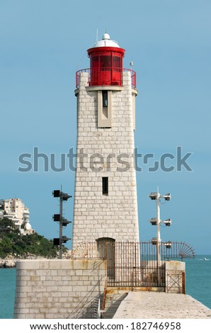 Lighthouse in the port of Nice, France