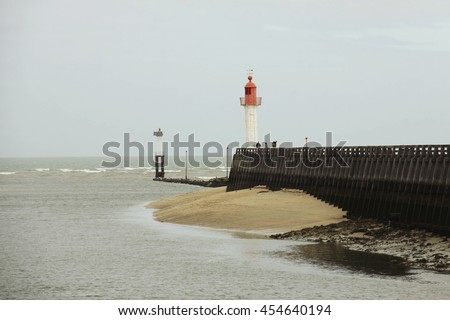 Lighthouse in Trouville, Normandy, France - stock photo