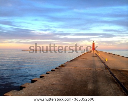 Lighthouse in View (Wisconsin) - stock photo