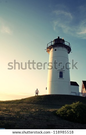 Lighthouse Keeper at the Nobska Lighthouse on Cape Cod - stock photo