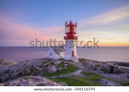 Lighthouse Lindesnes Fyr at evening on most southern point of Norway - stock photo