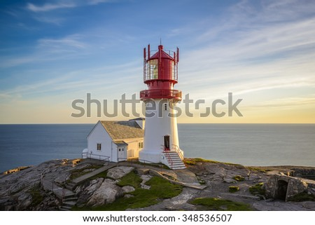 Lighthouse Lindesnes Fyr at sunset on most southern point of Norway