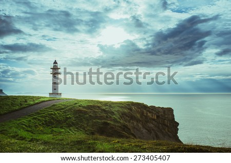 Lighthouse looking at bay of Biscay