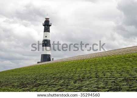 Lighthouse near Breskens in the Netherlands - stock photo