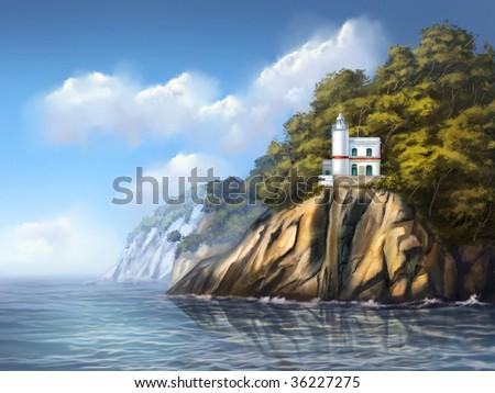 Lighthouse near Portofino, Italy. Original digital illustration. - stock photo