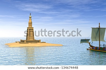 Lighthouse of Alexandria - computer graphics - stock photo