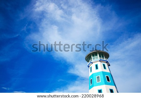 Lighthouse of blue and blue sky , Tower of blue and blue sky - stock photo