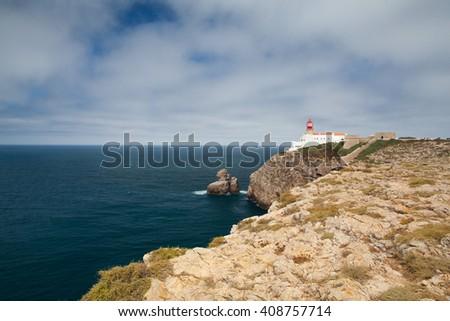 Lighthouse of Cabo de Sao Vicente, Sagres,Algarve,Portugal (built in october 1851) - stock photo