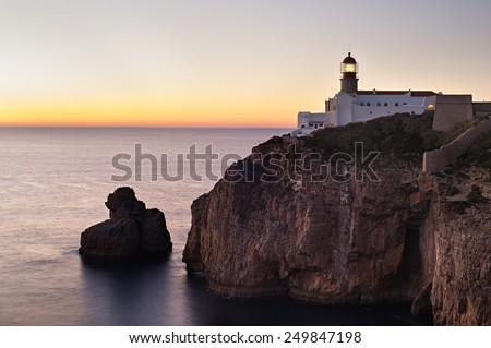 Lighthouse of Cabo Sao Vicente, Sagres, Portugal at sunset - stock photo