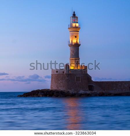 lighthouse of Chania at night, Crete, Greece - stock photo