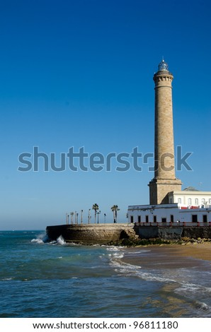 Lighthouse of Chipiona, the tallest in Spain - stock photo