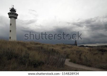 Lighthouse of egmond aan zee - stock photo