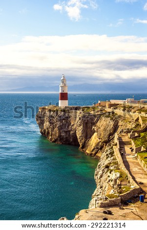 Lighthouse of Europa Point in Gribraltar - stock photo