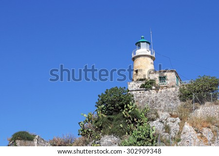 lighthouse old fortress Corfu island Greece - stock photo