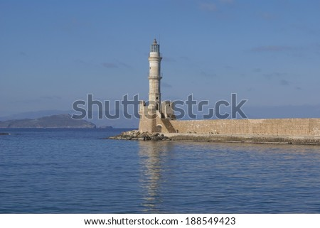 lighthouse, old harbour, Chania, Crete island, Greece