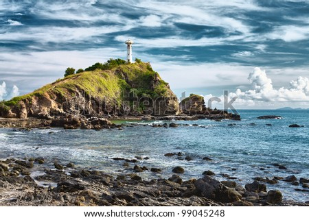 Lighthouse on a Cliff - stock photo