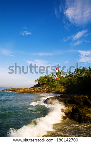 Lighthouse on Coastline at Kovalam, Kerela, India - stock photo