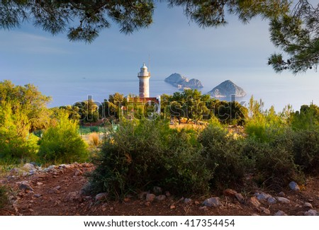 Lighthouse on Gelidonya peninsula in April. Beautiful outdoor scenery in Turkey, Asia. Evening on Mediterranean sea, Artistic style post processed photo. - stock photo