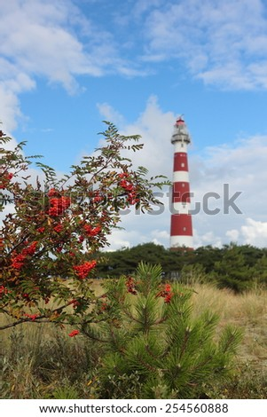 lighthouse on island Ameland, Northern Sea, Netherlands - stock photo