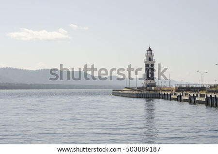 Lighthouse on Lake Baikal. Russia, Buryatia, Turka village